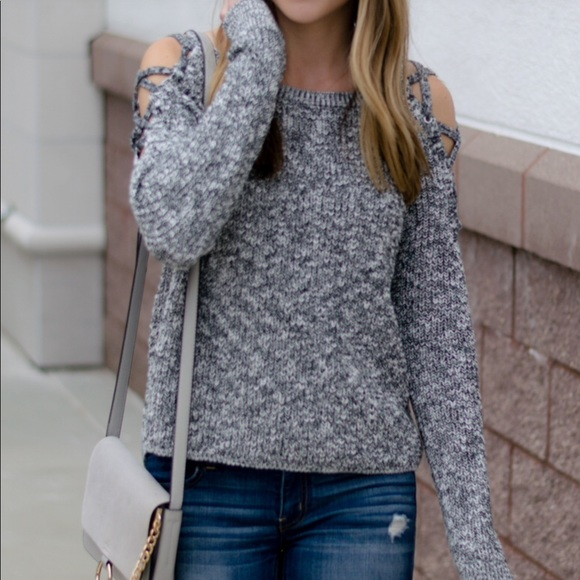 c6f42035d2f Express Sweaters - Express lace up cold shoulder sweater